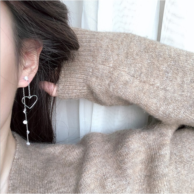 【純銀水鑽愛心長耳環】純銀 耳環 針式 穿孔耳環 珍珠 天然 防發炎 簡約 耳針 耳釘 結婚 幾何