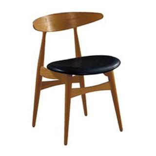 胡桃實木餐椅愛格爾(黑皮)OA204-2