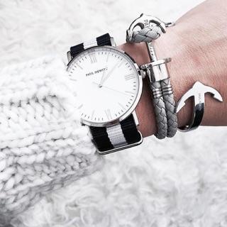 PAUL HEWITT 銀 灰色皮質手環 正版