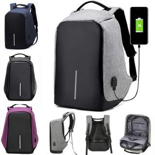 男子防盗帆布笔记本电脑包背包USB端口旅行书包背包