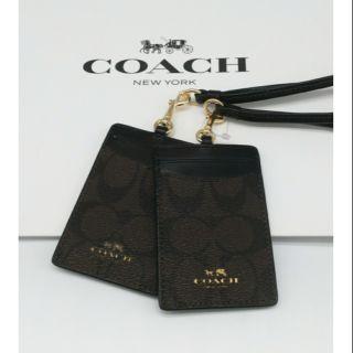 COACH識別證件套(深咖啡logo+黑色)
