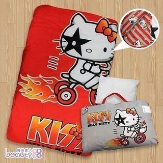 【KISS HELLO KITTY】可愛圖騰兒童睡袋(卡其)