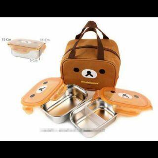 拉拉熊 韓國製*304不鏽鋼樂扣餐盒附提袋三件組