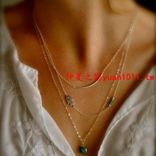 【特價】歐美簡約多層街拍飾品 法蒂瑪之手 眼睛松石女式項鏈C165