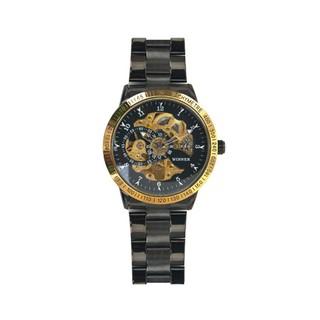 Winner男士阿拉伯數字設計兩個子錶盤骨架自動機械自動發條風腕錶不銹鋼錶帶 - 樣式1