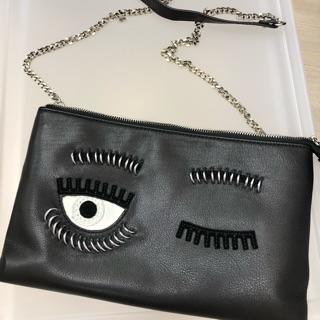 轉賣 貨色 真皮 龐克金屬眼環 眨眼包 鏈包 手拿包