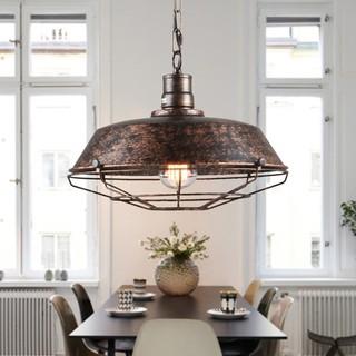Loft工業風餐廳酒吧臺吊燈美式鄉村創意復古北歐鐵藝單頭鍋蓋吊燈