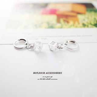 Bonjouracc 環扣立體小方塊環扣耳環