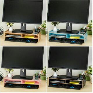 DiY電腦增高置物架,5mm升級加厚螢幕架,適用各種電腦液晶螢幕,墊高螢幕,原木/藍/粉三色,歡迎團購批發洽詢