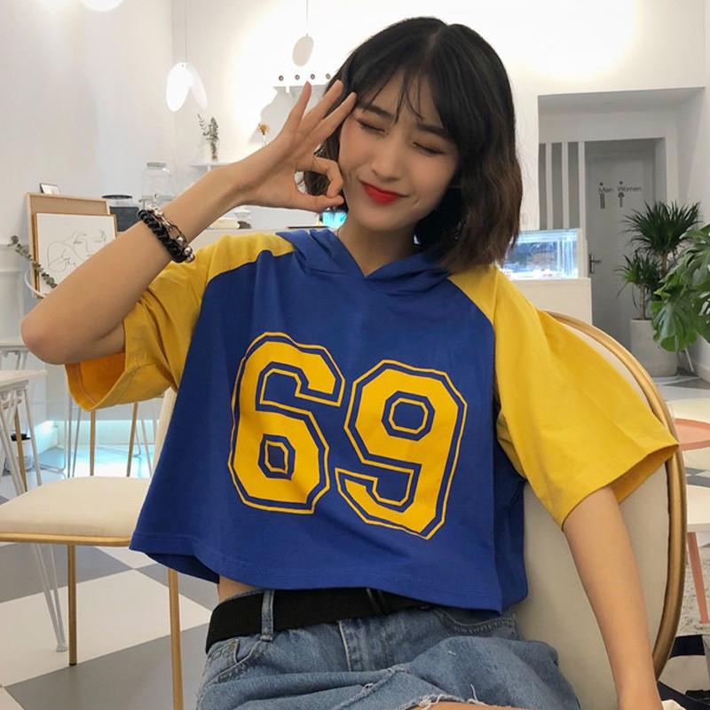 女裝個性拼接數字印花短袖短款連帽T恤寬松顯瘦上衣體恤