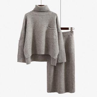 「新品推薦」韓版時尚百搭高領針織加高腰包臀裙套組
