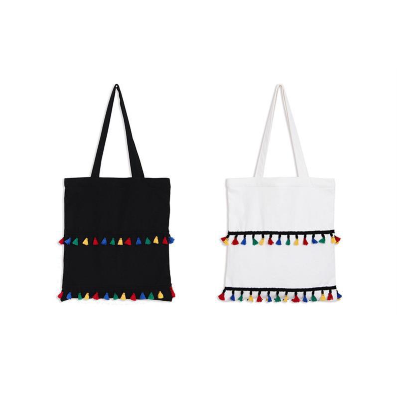 ●思家坊● 流蘇文藝帆布包學生包包手提袋帆布手提帆布袋韓國潮小清新單肩包