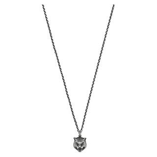 【預購】GUCCI Gatto sterling silver necklace 男性虎頭墜飾純銀項鍊