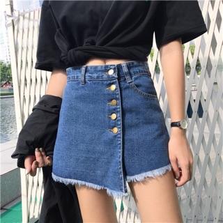 韓版 高腰 不規則 拼接 開叉 a字裙 闊腿 褲裙