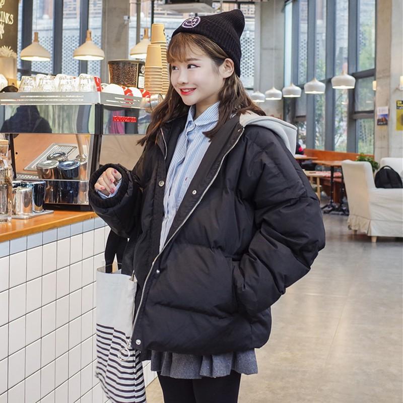 冬季女裝新款韓版bf寬鬆連帽夾棉加厚保暖棉衣學生面包服棉服外套