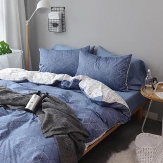 正反二種風格純棉幾何床包組 床單被套枕套 ikea hola 藍色 白色 幾何 紳士 簡約 北歐