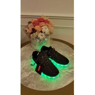 Teemway 兒童 LED發光 七彩 球鞋 布鞋 黑灰 usd充電 萬聖節 聖誕節