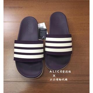 Adidas Adilette Cloudfoam Plus 愛迪達紫色白三線拖鞋 柔軟拖鞋 輕量運動拖鞋 AH2589