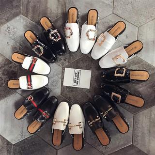 雜誌款時尚外穿半包式拖鞋