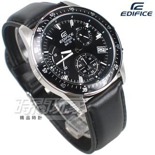 EDIFICE EFV-540L-1A 多功能計時碼錶 三眼男錶 簡約大氣 黑色 皮帶 CASIO卡西歐【時間玩家】