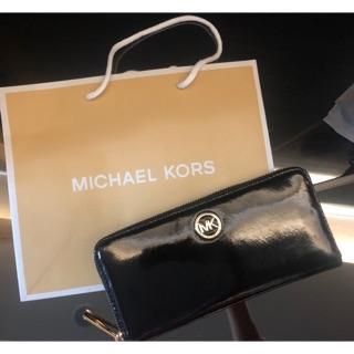 Michael Kors MK logo亮面漆皮長夾 皮夾 全新