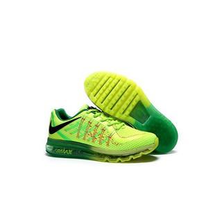 nike air max飛線3D網面全掌氣墊情侶跑鞋 熒光綠