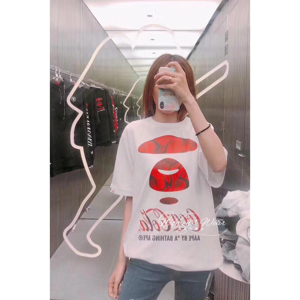 實拍AAPE X Coca-Cola 迷彩撞色猿人圓領休閑寬鬆短袖T恤 日系潮牌男裝夏季迷彩印花短袖可口可樂聯名短袖T恤