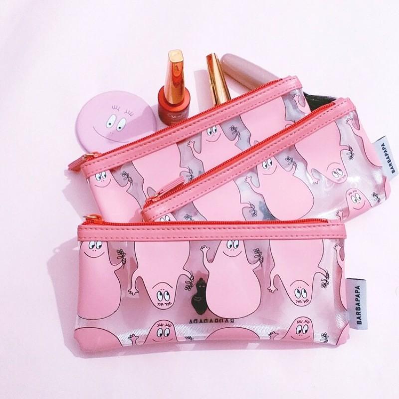 韓系少女 款 barbapapa 粉紅泡泡先生 巴巴爸爸 透明鉛筆盒 文具收納 扁式化妝包