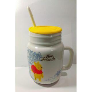全新 維尼 三件式 杯蓋 湯匙 攪拌棒  陶瓷 手把 馬克杯 手拿杯 上班族 沙拉杯 濃湯 牛奶杯 咖啡杯