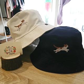 日本簡約貓咪漁夫帽