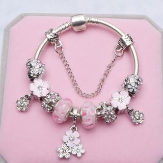 歐美風格水晶串珠手鏈粉色琉璃珠艾菲爾鐵塔DIY手鏈