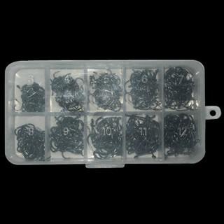 500枚盒裝魚鉤 管付伊勢尼魚鉤套裝 帶倒刺釣鉤 帶孔魚鉤漁具套裝