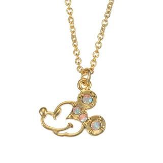 *FollowV*日本Disney迪士尼商店《現貨》簍空米老鼠米奇 透亮水鑽裝飾 項鍊