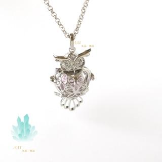 時尚百搭單品 貓頭鷹精油香水項鍊 香水琉璃珠項鍊