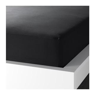 Ikea 素色床包 黑色 DVALA