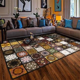 美式花磚地毯 可訂制 瓷磚 花磚 方塊磚 玄關 客廳 長條 廚房 地墊 房間 床邊毯 鄉村風格 復古 壁磚貼 民宿 裝潢