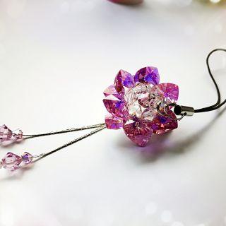 微笑手作 水晶串珠 愛心蓮花 吊飾