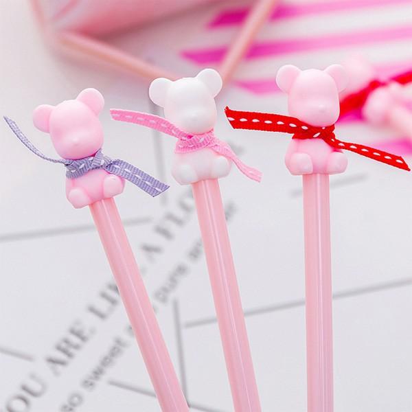 [現貨]粉紅色緞帶小熊造型中性筆 水性筆【JC3435】《Jami Honey》