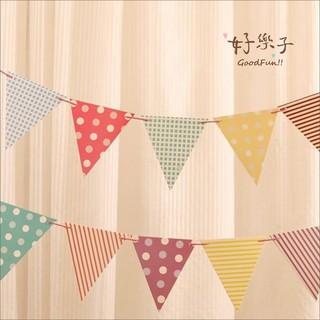 好樂子三角旗格子圓點款派對裝飾吊旗 印地安帳篷裝飾配件兒童房布置派對手工掛件攝影道具