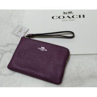 COACH單層小手拿包(紫色/防刮皮革)