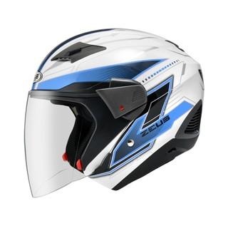 ZEUS 瑞獅 ZS 611E 611 TT18 3/4罩/半罩 安全帽 - 白/藍