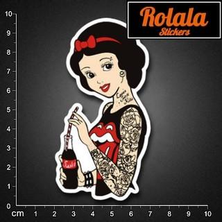 ROLALA【P455】PVC防水潮流貼紙-可樂公主《買4送1》單張行李箱貼滑板牆貼機車暗黑邪惡白雪公主刺青龐克黑死