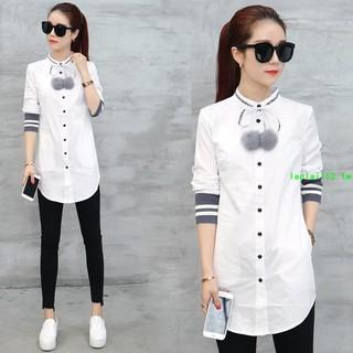 白色長款襯衫女長袖中長款春秋韓范寬松大碼加長版打底白襯衣