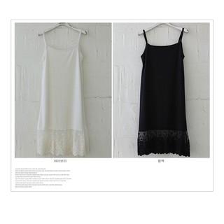 韓國Olivon【3787A】浪漫可愛蕾絲襯裙 背心裙 洋裝 內搭穿搭-黑色