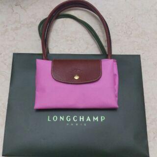 Longchamp(中/粉)長把摺疊包%20法國巴黎