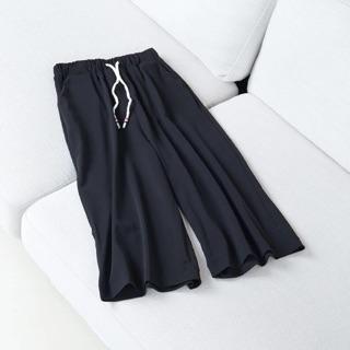 超彈優質七分寬褲休閒鬆緊腰圍寬褲
