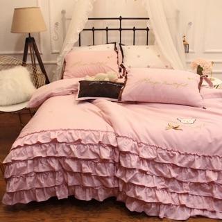 公主風 床包組 純棉 磨毛 刷毛 刺繡 蝴蝶結 標準雙人 加大床包