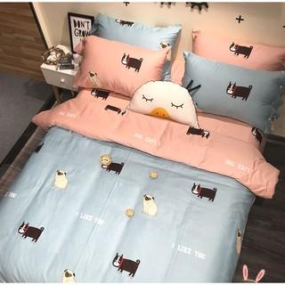 巴哥控韓國卡通巴哥床包組4件套正反雙色雙人床包