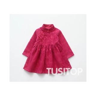 女童寶寶冬天長袖旗袍旗袍洋裝改良式旗袍過年紅色群