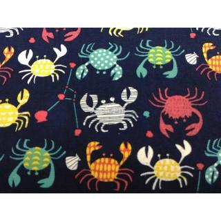 *零碼布手作* 螃蟹 蟹 海鮮 大閘蟹 沙灘 綠色 粉紅色 綠色 粉紅色 深藍色 1/2碼 台灣純棉布 DB810